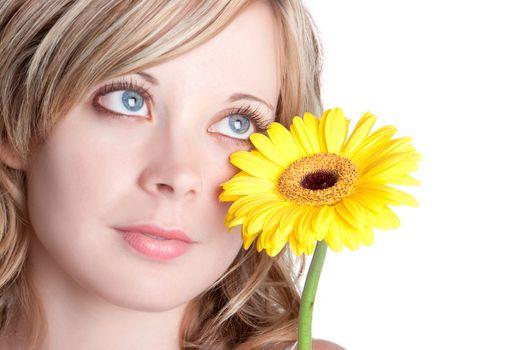 Beautiful blond yellow flower woman