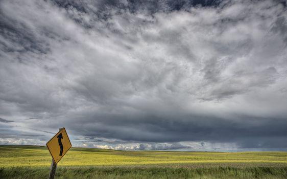 Yellow Turn Sign