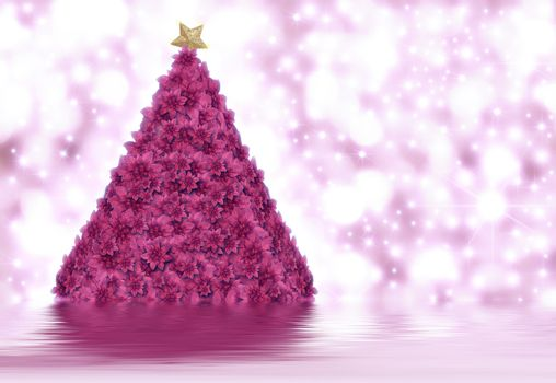 Christmas tree made of poinsettias in bright background stars