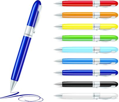 Vector illustration of set colorfull pens