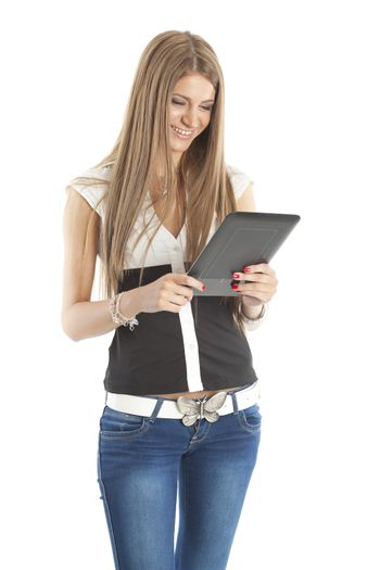 Beautiful Smiling Woman Communicate With Tablet Computer