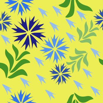 Cornflowers on seamless floral background