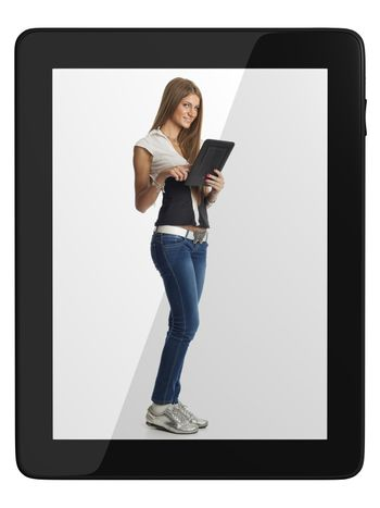 Beautiful Woman Communicate With Tablet Computer