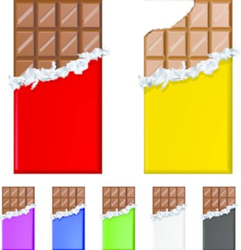 Set of chocolate bars in colorful wrappers. Illustration on white background