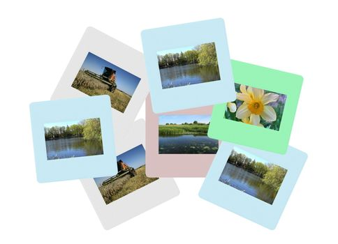 Old colored slide frame with images