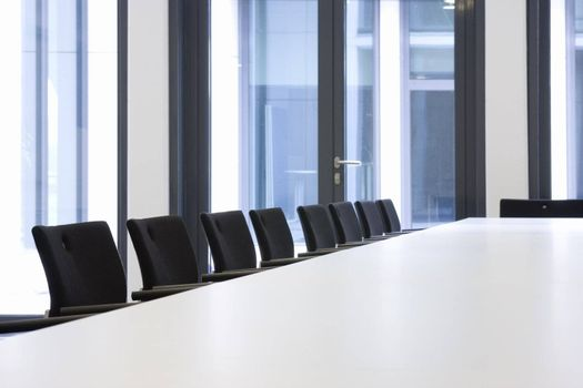 Conference room with black chairs