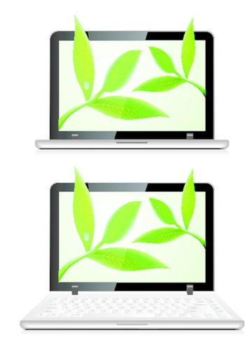 Laptop with leaves on white background. Environmental concept vector illustration