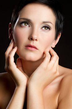 Beautiful woman hands face portrait