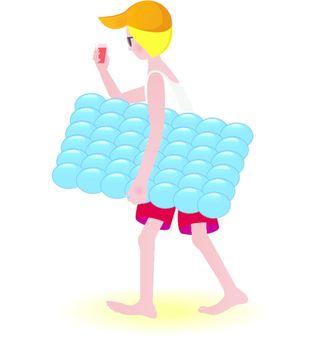 Boy on air mattress. Illustration on white background