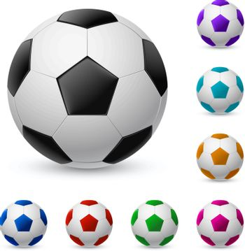 Realistic soccer ball in different colors. Illustration on white background