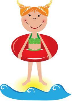 Cartoon little girl with a lifeline. Illustration on white background