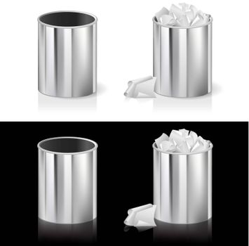 Realistic bin. Illustration for design on white and black background