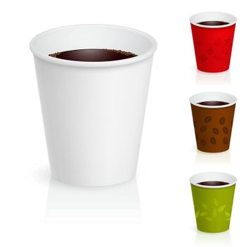 Cups of coffee illustration. Isolated on white background.