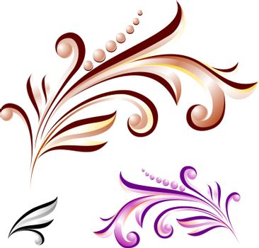 Abstract flower with leaves of different colors. Nice design elements for your best creative ideas.