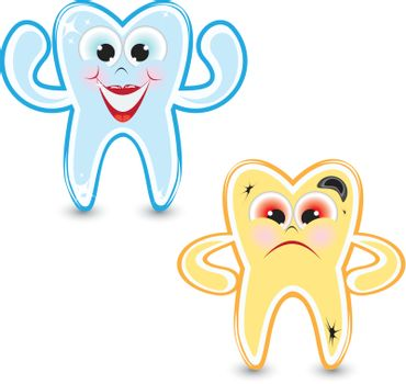 Cartoon healthy and diseased tooth. Illustration on white background