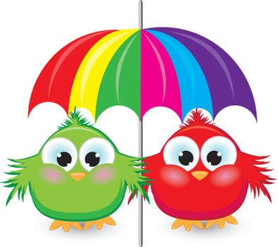 Two cartoon sparrow under the colorful umbrella. Illustration on white background
