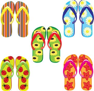 Five pairs of colorful flip flops. Illustration on white background