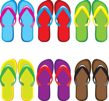 Six pairs of colorful flip flops. Illustration on white background
