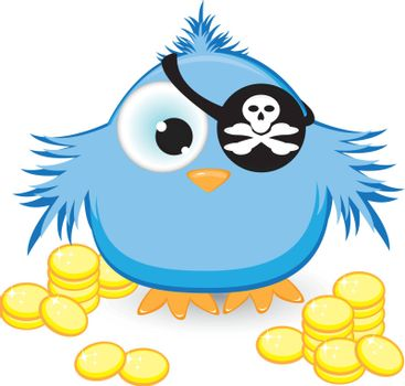 Cartoon pirate sparrow with gold coins. Illustration on white background