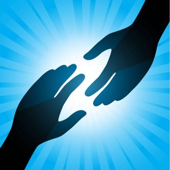 Handshake. Illustration on an abstract blue background