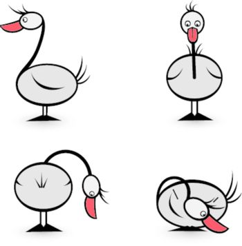 Abstract Four geese in different positions. Illustration on white background