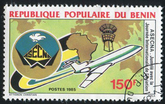 BENIN - CIRCA 1985: stamp printed by Benin, shows plane, circa 1985.