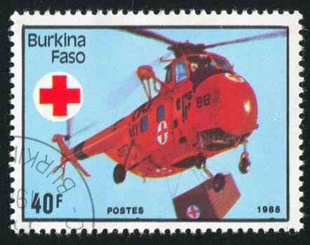 BURKINA FASO - CIRCA 1985: stamp printed by Burkina Faso, shows frog, circa 1985.