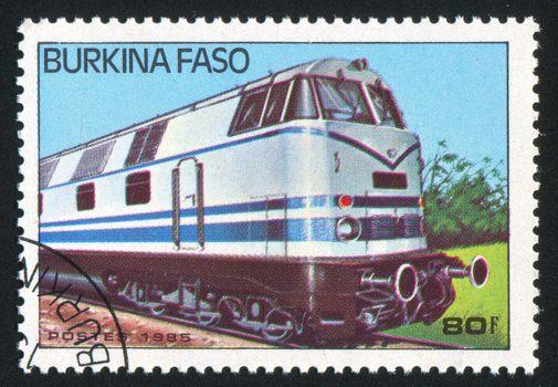 BURKINA FASO - CIRCA 1985: stamp printed by Burkina Faso, shows locomotive, circa 1985.