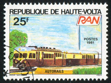 BURKINA FASO - CIRCA 1981: stamp printed by Burkina Faso, shows locomotive, circa 1981.