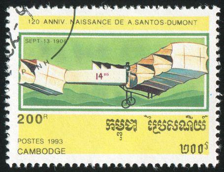 CAMBODIA - CIRCA 1993: stamp printed by Cambodia, shows plane, circa 1993.