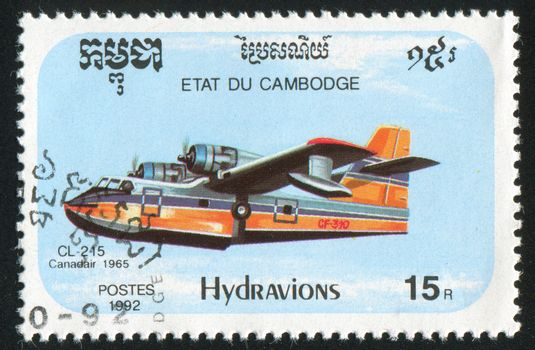 CAMBODIA - CIRCA 1992: stamp printed by Cambodia, shows plane, circa 1992.