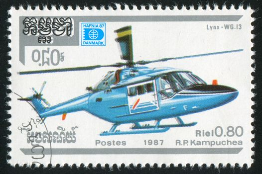 CAMBODIA - CIRCA 1987: stamp printed by Cambodia, shows helicopter, circa 1987.