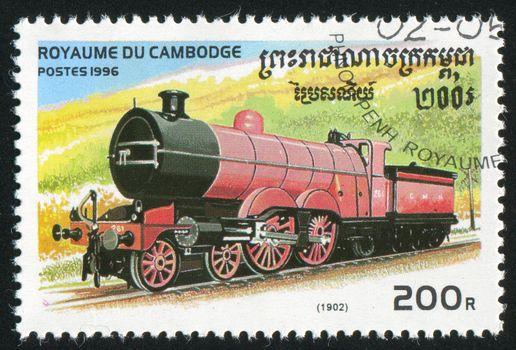 CAMBODIA - CIRCA 1996: stamp printed by Cambodia, shows locomotive, circa 1996.