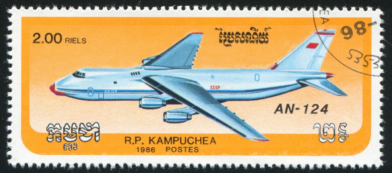 CAMBODIA - CIRCA 1986: stamp printed by Cambodia, shows plane, circa 1986.