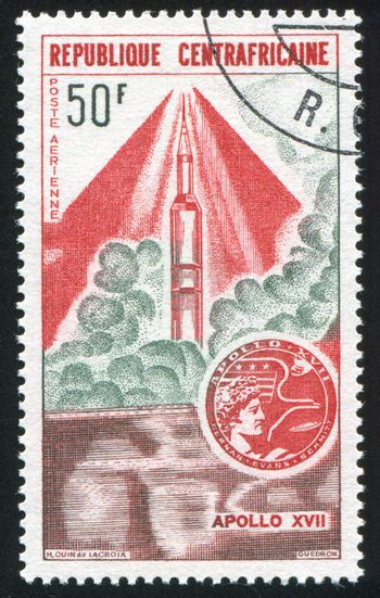 CENTRAL AFRICAN REPUBLIC - CIRCA 1973: stamp printed by Central African Republic, shows rocket, circa 1973.