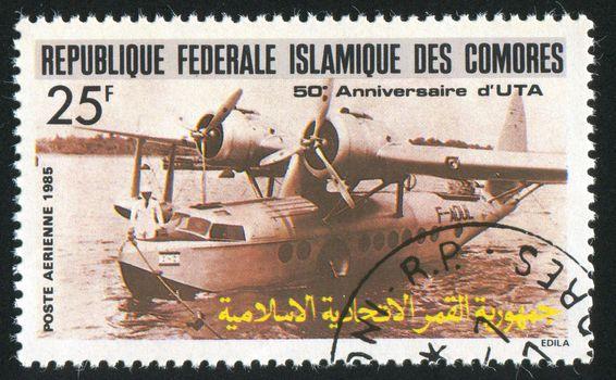 COMORO ISLANDS - CIRCA 1985: stamp printed by Comoro islands, shows plane, circa 1985