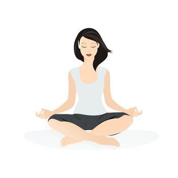 Vector illustration of a woman in yoga asana