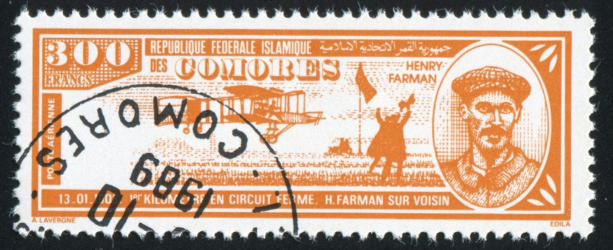 COMORO ISLANDS - CIRCA 1988: stamp printed by Comoro islands, shows airplane and Henri Farman, circa 1988