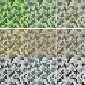 Illustration of digital camouflage #2 seamless patterns.