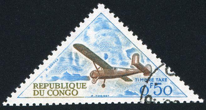 CONGO CIRCA 1961: stamp printed by Congo, shows Broussard Plane, circa 1961