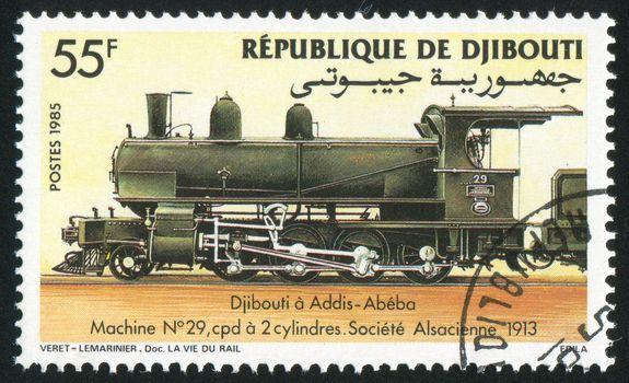 DJIBOUTI - CIRCA 1985: stamp printed by Djibouti, shows locomotive, circa 1985