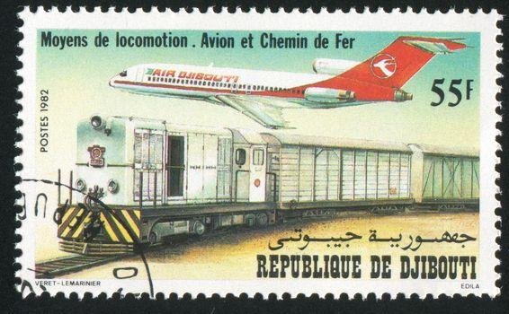 DJIBOUTI - CIRCA 1982: stamp printed by Djibouti, shows locomotive and plane, circa 1982
