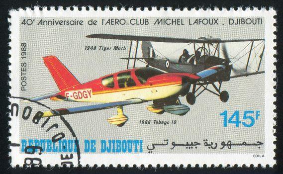 DJIBOUTI - CIRCA 1988: stamp printed by Djibouti, shows plane, circa 1988