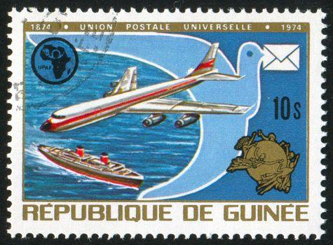 GUINEA - CIRCA 1974:   stamp printed by Guinea,  shows hippopotamus, circa 1974.