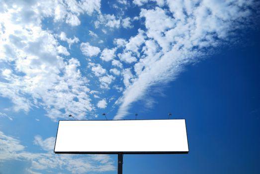 clean empty billboard on a background beautiful sky