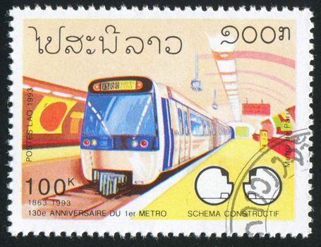 LAOS - CIRCA 1993: stamp printed by Laos, shows Subway, circa 1993.