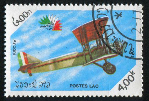 LAOS - CIRCA 1985: stamp printed by Laos, shows aeroplane, circa 1985.