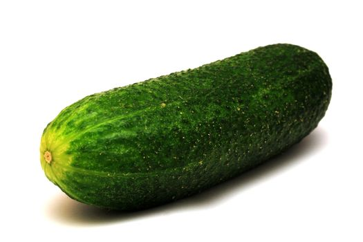 Foto of green cucumber on white background