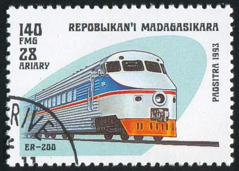 MADAGASCAR - CIRCA 1993: stamp printed by Madagascar, shows locomotive, circa 1993