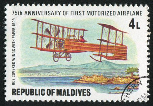 MALDIVE ISLANDS - CIRCA 1978: stamp printed by Maldive Islands, shows aeroplane, circa 1978